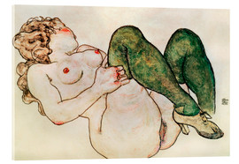Acrylglas print  Nude with green stockings - Egon Schiele