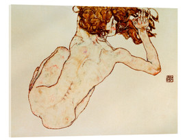 Acrylglas print  Crouching nude, back view - Egon Schiele