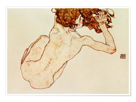 Premium poster  Crouching nude, back view - Egon Schiele