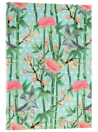 Acrylglas print  bamboo birds and blossoms on mint - Micklyn Le Feuvre