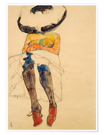 Premium poster  Seated Semi Nude with Hat and Purple Stockings - Egon Schiele