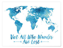 Premium poster World map in blue