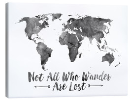 Canvas print  Not all who wander are lost - wereldkaart - Mod Pop Deco