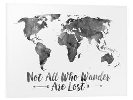 PVC print  Not all who wander are lost - wereldkaart - Mod Pop Deco