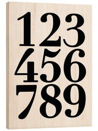 Hout print  Enumerated! The numbers 1 - 9 - Finlay and Noa