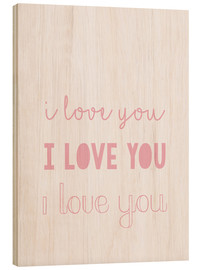 Hout print  I love you pastel - Finlay and Noa