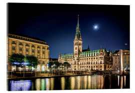 Acrylglas print  Moon over the town hall in Hamburg - Tanja Arnold Photography