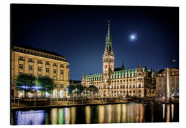 Aluminium print  Moon over the town hall in Hamburg - Tanja Arnold Photography
