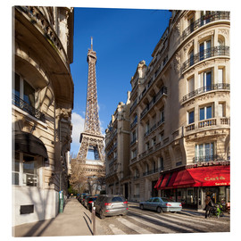 Acrylglas print  Sidewalk cafe in Paris with Eiffel Tower in background - Jan Christopher Becke