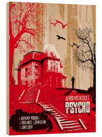 Hout print  Alfred Hitchcock's Psycho - 2ToastDesign