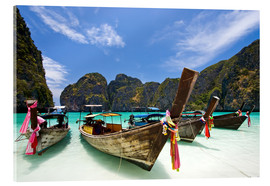 Acrylglas print  Long tail boat at Maya Bay on the island of PhiPhi
