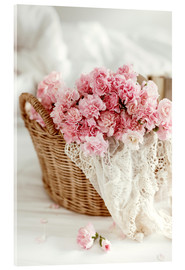 Acrylglas print  Pink pastel flowers in wicker basket