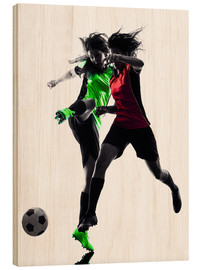 Hout print  two soccer players