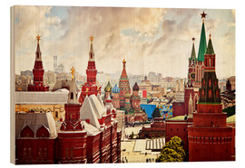 Hout print  Aerial view of the Kremlin in Red Square, Moscow