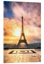 Acrylglas print  Eiffel Tower in Paris at sunset - Jan Christopher Becke