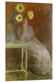 PVC print  Sedentary woman next to a vase with sunflowers - Claude Monet