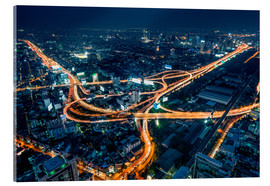 Acrylglas print  Aerial view of Bangkok at night - Jan Christopher Becke