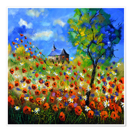 Premium poster Poppy field with church