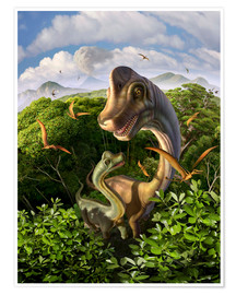 Premium poster A Brachiosaurus with young above the treetops, surrounded by pterodactyls.
