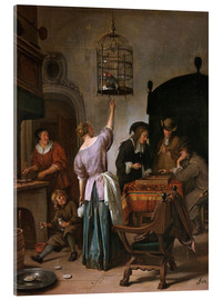 Acrylglas print  Room with a woman and a parrot - Jan Havicksz. Steen