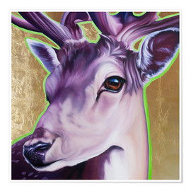 Premium poster  Hirsch purple gold green - Renate Berghaus