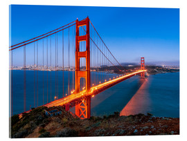 Acrylglas print  Night shot of the Golden Gate Bridge in San Francisco California, USA - Jan Christopher Becke