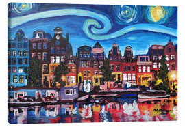 Canvas print  Starry Night over Amsterdam Canal, Van Gogh Inspiration - M. Bleichner