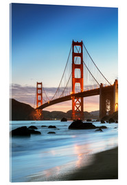 Acrylglas print  Golden gate bridge at dawn from Baker beach, San Francisco, California, USA - Matteo Colombo