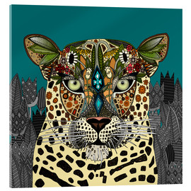 Acrylglas print  Leopard Queen teal - Sharon Turner