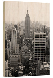 Hout print  Wolkenkrabber in New York City, VS