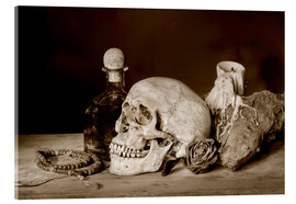 Acrylglas print  Still Life - skull, ancient book, dry rose and candle