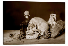 Canvas print  Still Life - skull, ancient book, dry rose and candle