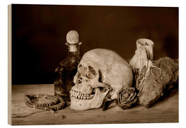 Hout print  Still Life - skull, ancient book, dry rose and candle