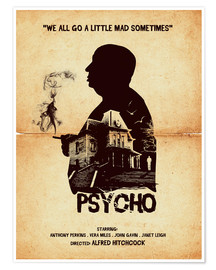 Premium poster Psycho movie hitchcock silhouette art