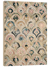 Hout print  Art Deco Marble Tiles in Soft Pastels - Micklyn Le Feuvre