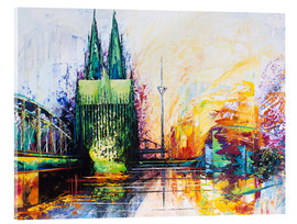 Acrylglas print  Cologne Cathedral Skyline colored - Renate Berghaus