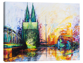 Canvas print  Cologne Cathedral Skyline colored - Renate Berghaus