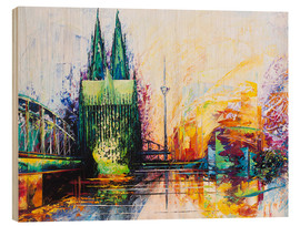Hout print  Cologne Cathedral Skyline colored - Renate Berghaus