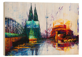 Hout print  Cologne Cathedral Skyline - Renate Berghaus