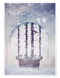 Premium poster Snowglobe with birch trees and raven