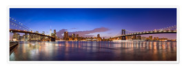 Premium poster New York City skyline panorama at night, USA