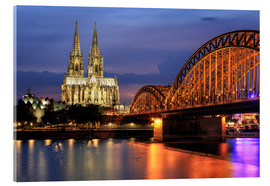 Acrylglas print  Cologne Cathedral and Hohenzollern Bridge at night - Oliver Henze