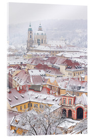 Acrylglas print  winter roofs of Ledebursky palace and St. Nicolas church, Prague