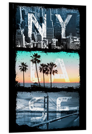 PVC print  New York, Los Angeles, San Francisco