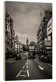 Hout print  Bus to Oxford Circus