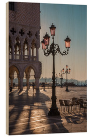 Hout print  St. Mark's Square in the morning