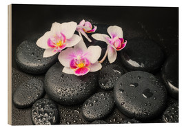 Hout print  Spa still life with orchid