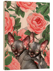 Hout print  Sphynx kitten with roses - Mandy Reinmuth