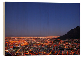 Hout print  Cape Town at night, South Africa - wiw