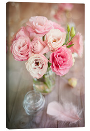 Canvas print  Romantic rose bouquet with feather